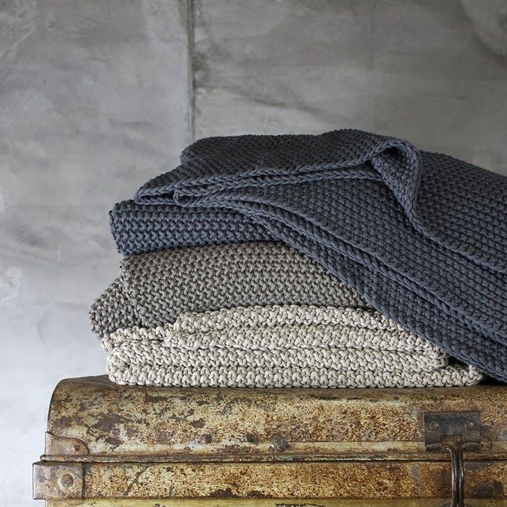 Fair Trade Moss Stitch Cotton Throw; Stone