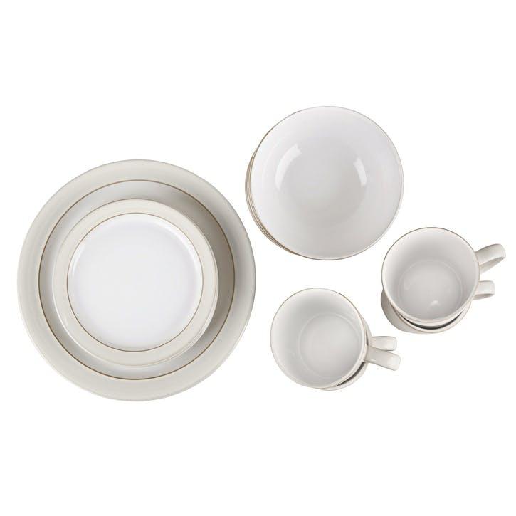 Natural Canvas 16 Piece Tableware Set, Cream
