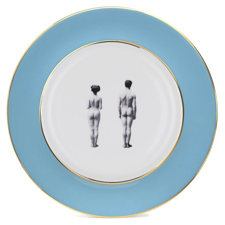 Modern Surrealist The Models Dinner Plate, Retro Blue