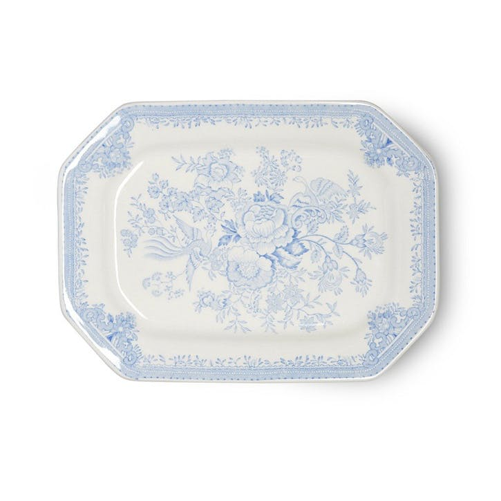 Asiatic Pheasants Rectangular Dish, 25cm, Blue