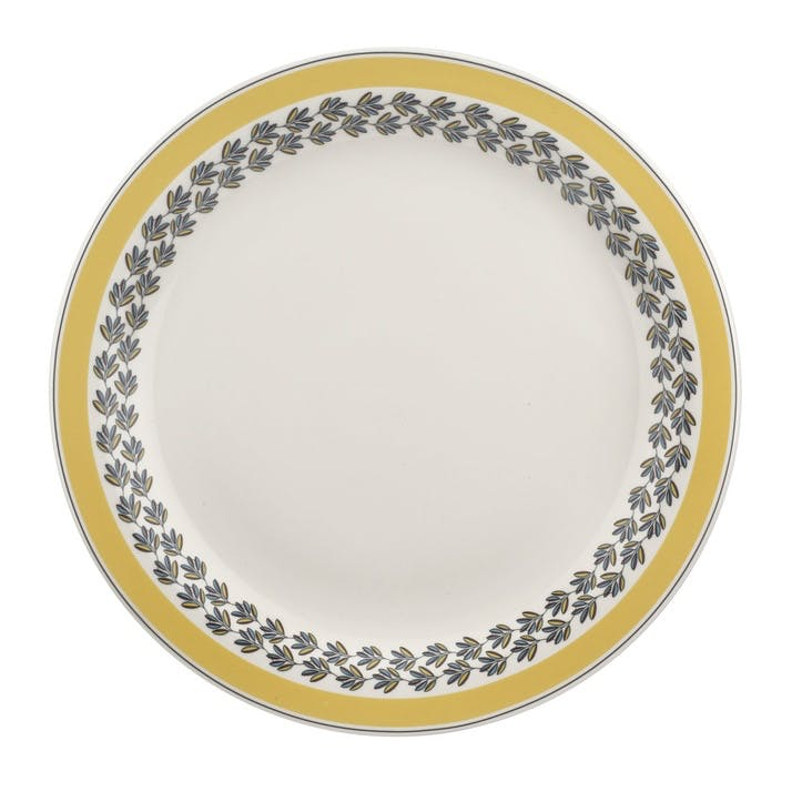 "Westerly Round Platter, 13""; Yellow Band"