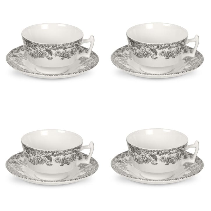 Delamere Rural Teacup and Saucers, Set of 4