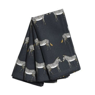 'Zebra' Fabric Napkins, Set of 4