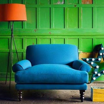 Saturday Love Seat, Deep Turquoise Cotton Matt Velvet