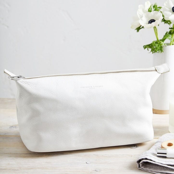 Pebblegrain Leather Wash Bag, White