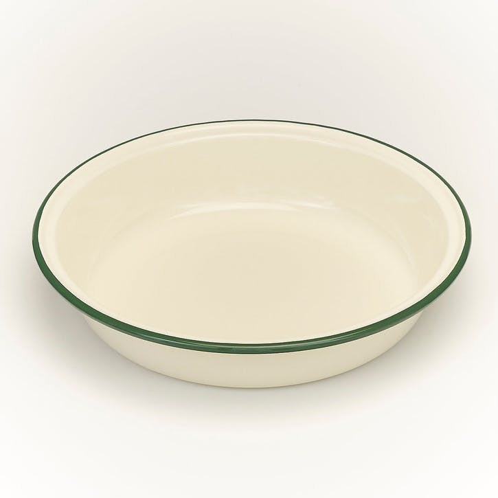 Round Pie Dish with Green Rim