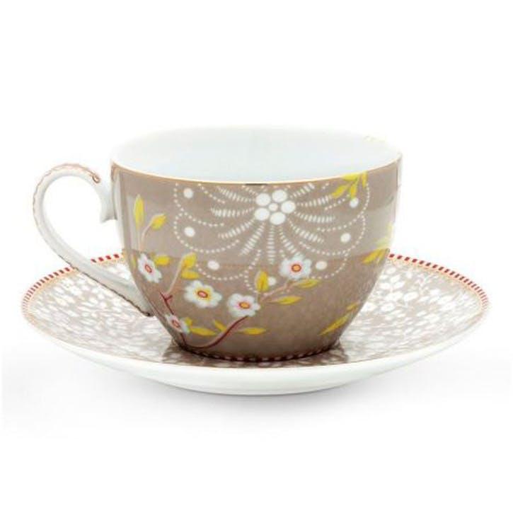 PiP Floral 2.0 Early Bird Cappuccino Cup & Saucer, Khaki