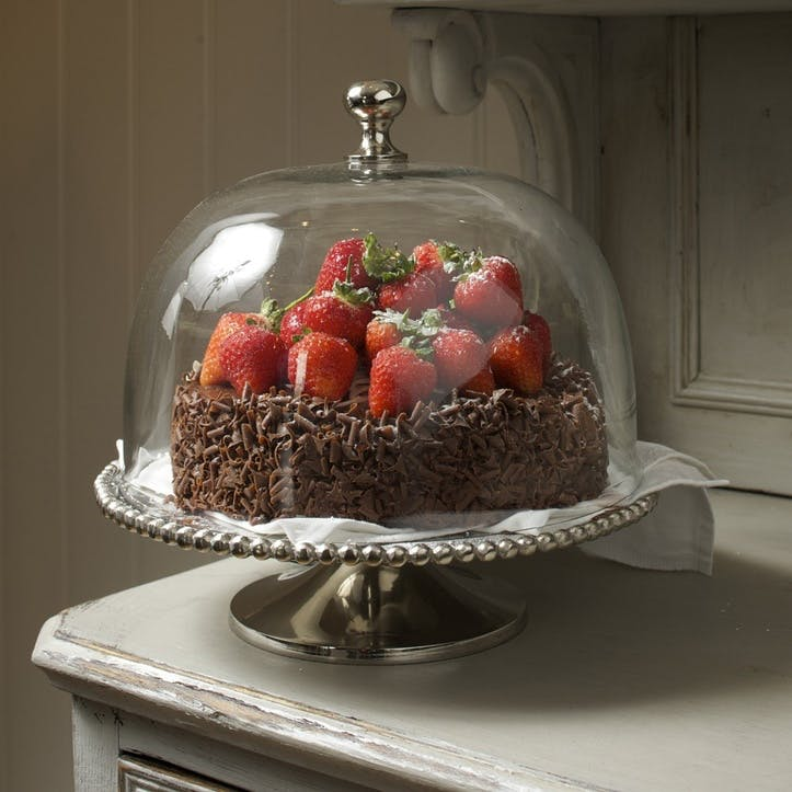 Beaded Edge Cake Stand with Domed Lid - Large