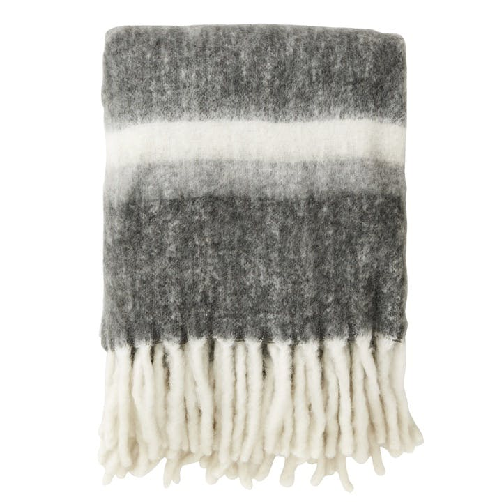Mohair Look Stripes Throw, Grey