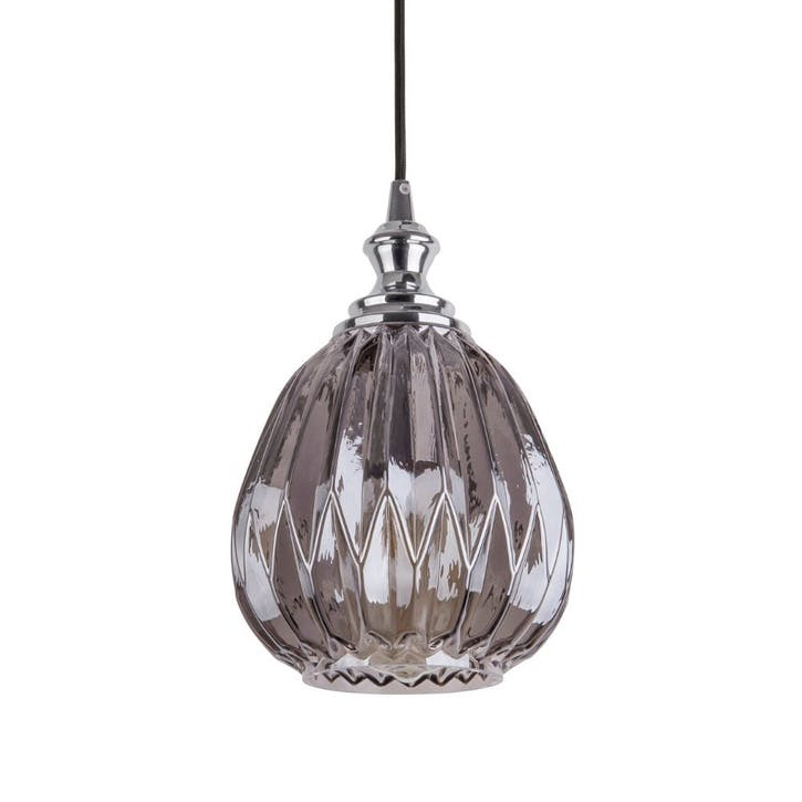 Cut Glass Pendant Light, Smokey Grey