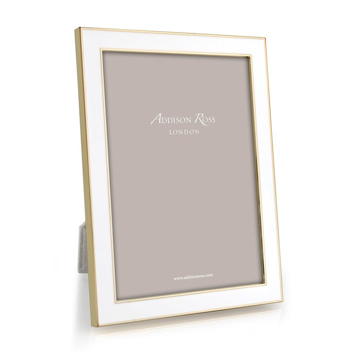 "15mm Gold and Enamel Photo Frame - 8"" x 10""; White"