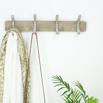 Wooden 4 Hook Coat Rack