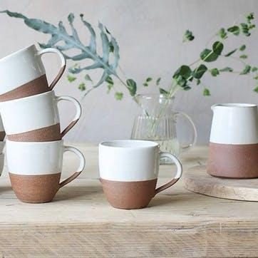 Mali Large Mug; White and Terracotta