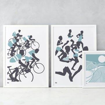The Cyclists Screen Print - 50 x 70cm; Coastal Blue