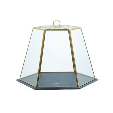 Glass Serving Cloche With Slate Base