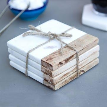 Mango Wood & Marble Square Coasters, Set of 4, White