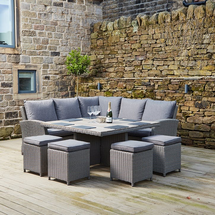Barbados Square Corner Seating Set, Slate Grey