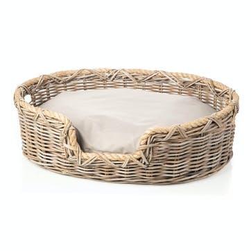 Rattan Oval Dog Basket, L
