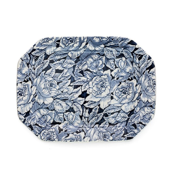 Ink Blue Hibiscus Rectangular Platter