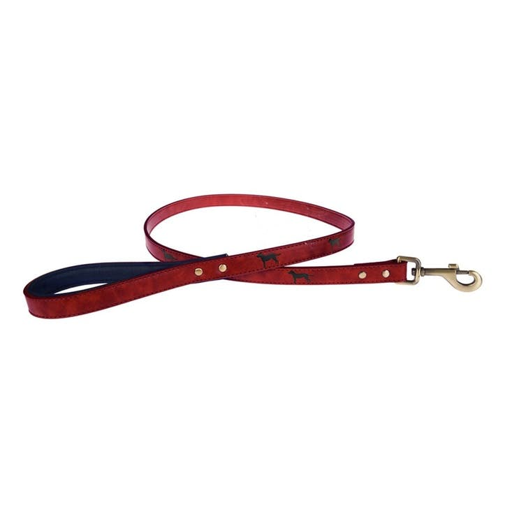 Faux Leather Dog Lead, Red, Medium