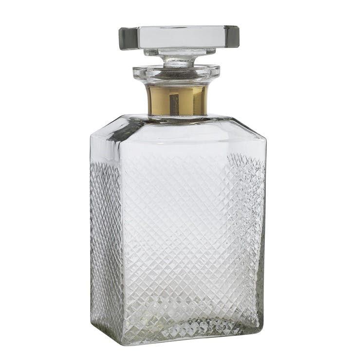 Glass Decanter with Gold Band