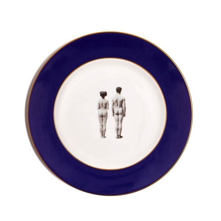 Modern Surrealist The Models Dinner Plate, Cobalt Blue