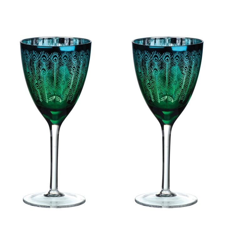Peacock Wine Glasses, Set of 2