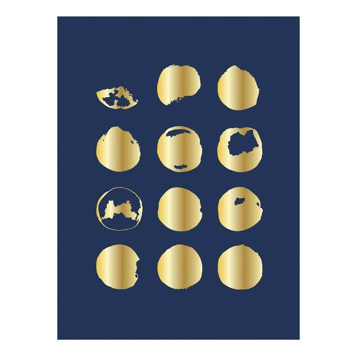 Blue and Gold Abstract Spots Print