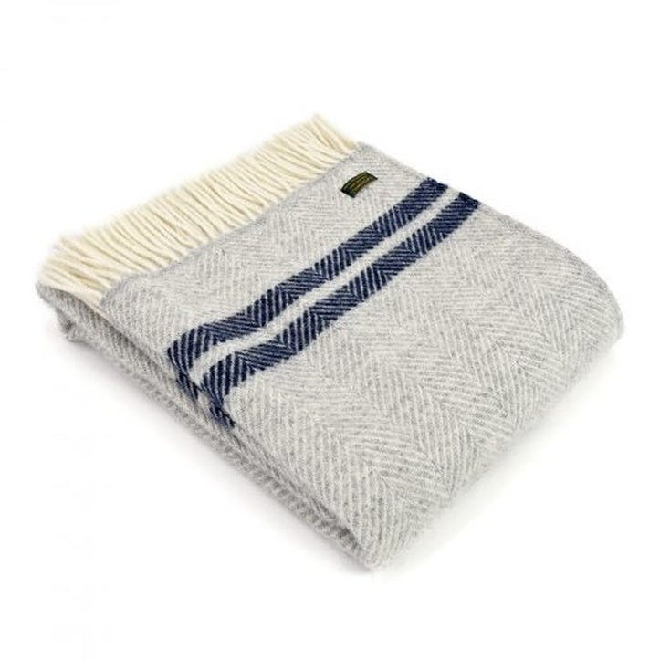 Fishbone 2 Stripe Throw; Silver Grey & Navy