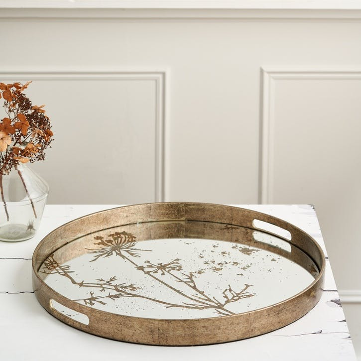 Large Round Mirrored Tray