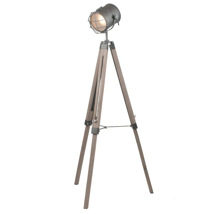 Marine Metal & Antique Wood Tripod Floor Lamp