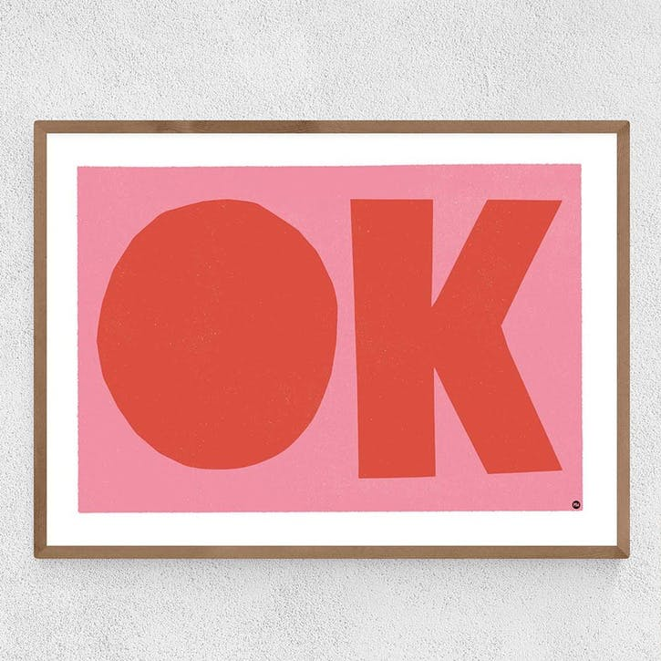 In House, OK, Framed Art Print, H64 x W44 x D2cm, Beige/ Natural