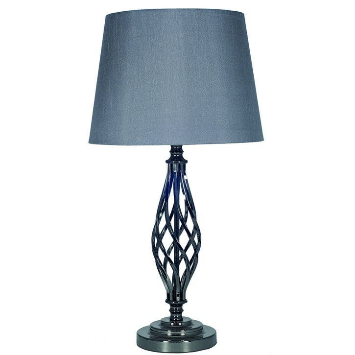 Jenna Twist Table Lamp with Shade; Black Chrome