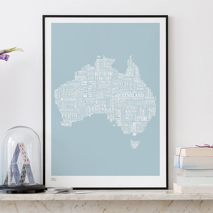 Type Map Screen Print Australia, 50cm x 70cm, Duck Egg Blue