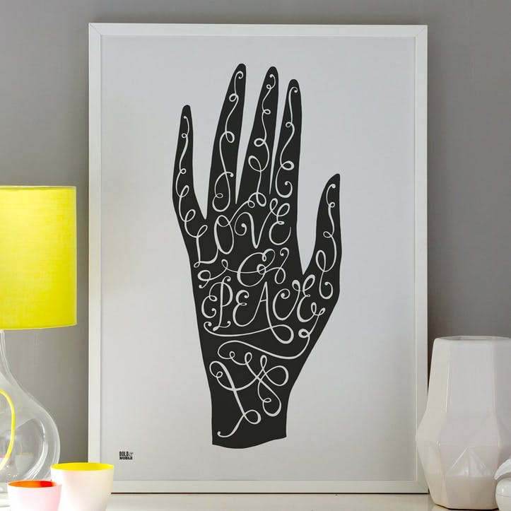 'Love & Peace Hand' Art Print - 50 x 70cm; Soft Black