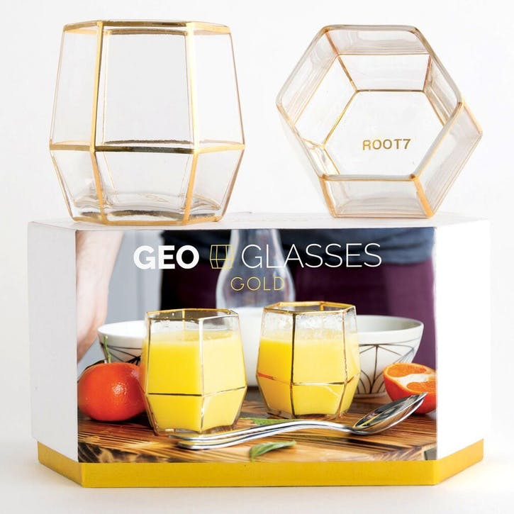 Geo Glasses - 2 Pack; Gold