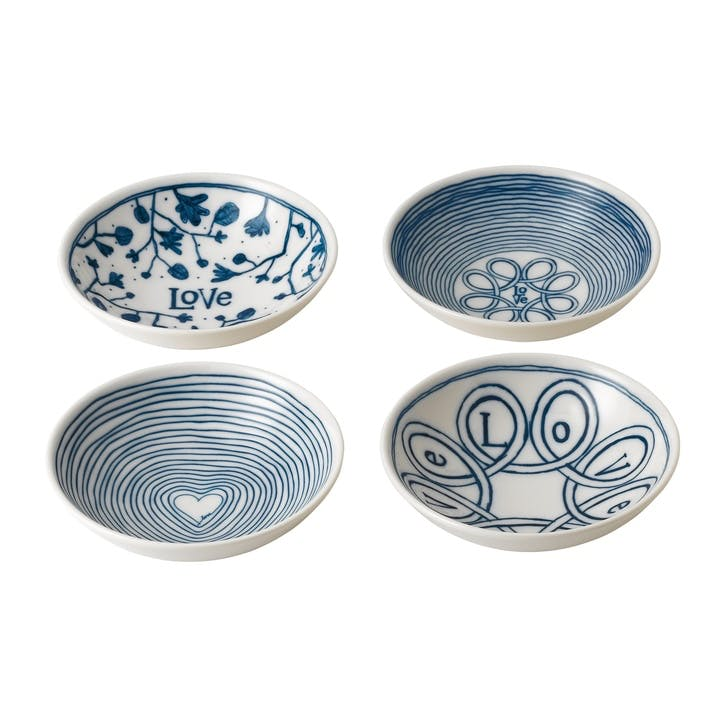 ED Ellen DeGeneres Blue Love Signature Bowl, Set of 4