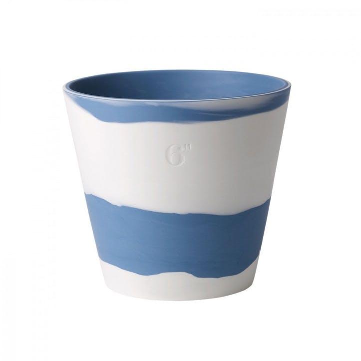 Burlington Pot Pale Blue on White Pot 6inch
