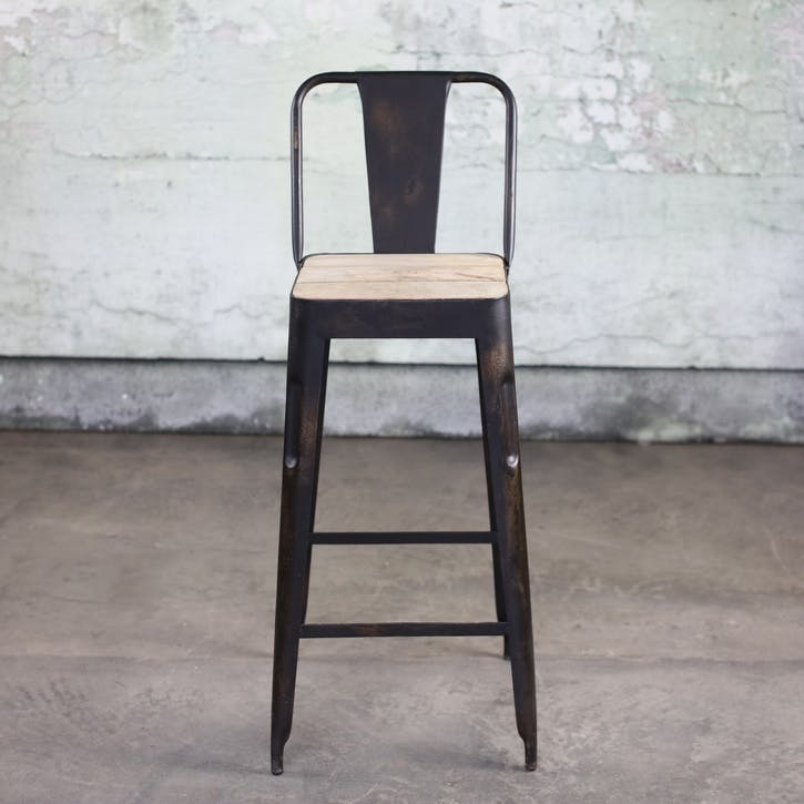 Chari Bar Chair; Distressed Black & Mango Wood
