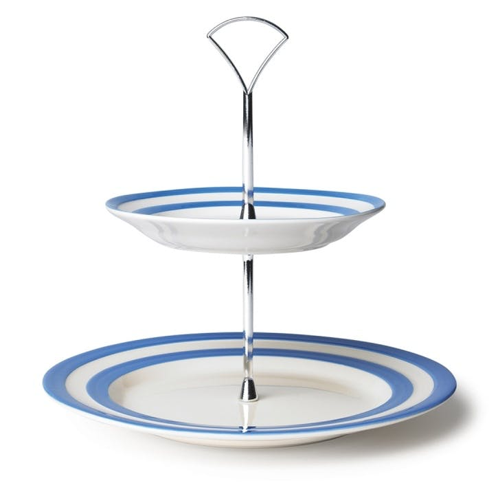 Two Tier Cake Plate, 25.4cm, Blue