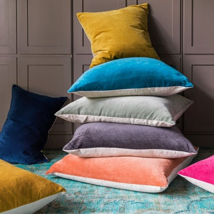 Velvet and Linen Backed Square Cushion, Slate