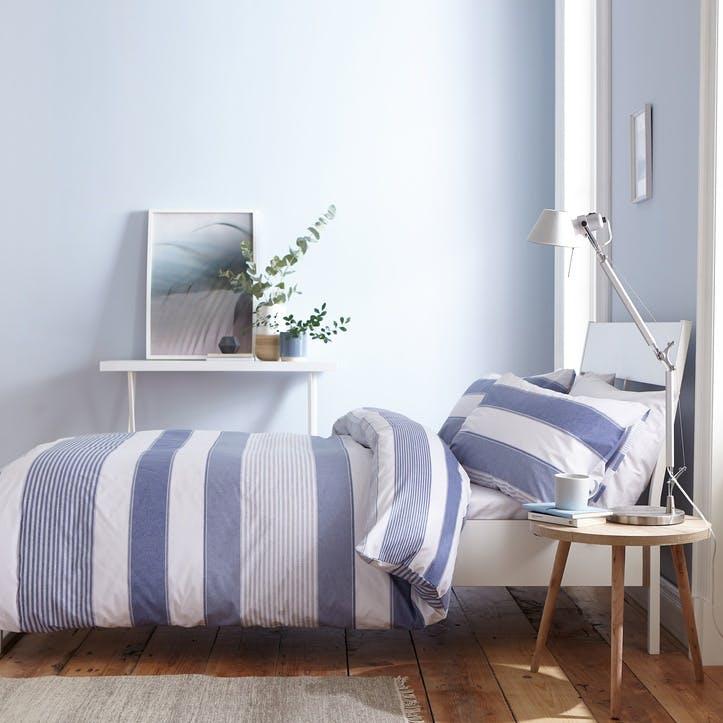 Newquay Stripe King Bedding Set; Blue