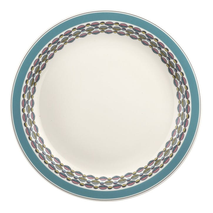 "Westerly Round Platter - 13""; Turquoise Band"