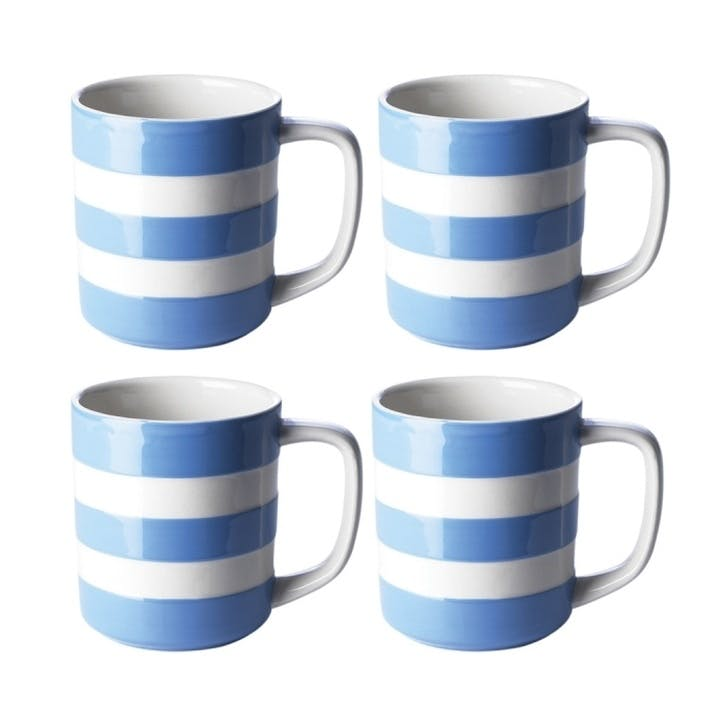 Cornish Blue Mugs 12oz, Set of 4