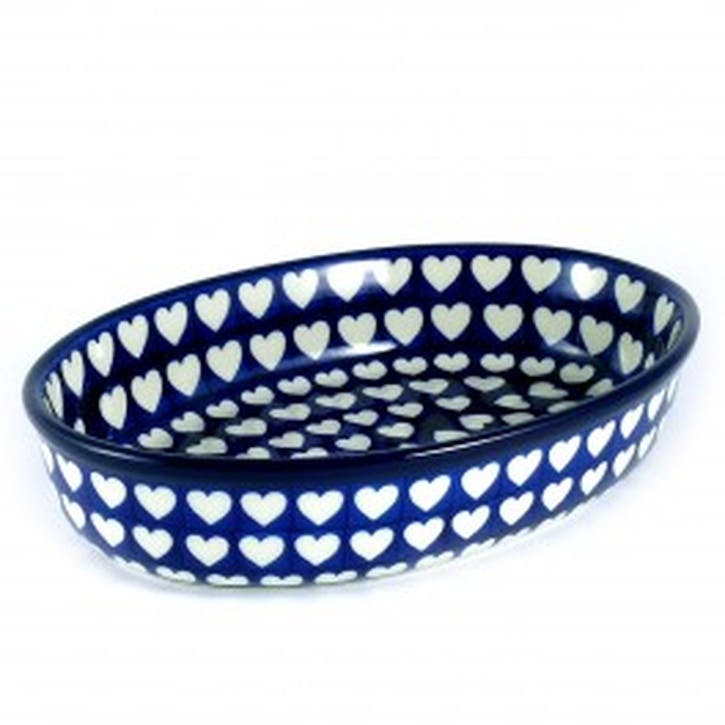Hearts Oval Dish, 27cm, Blue