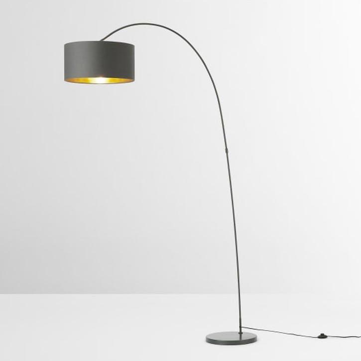 Sweep Arc Overreach Floor Lamp, Grey & Brass