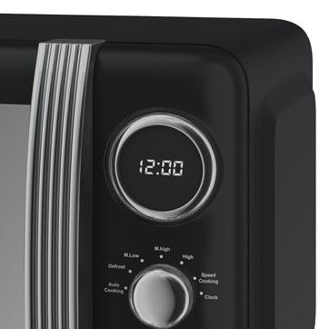 Retro 800W Digital Microwave, Black