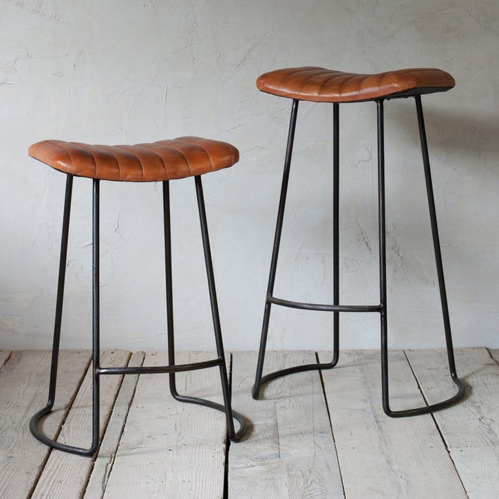 Narwana Ribbed Leather Stool - Small