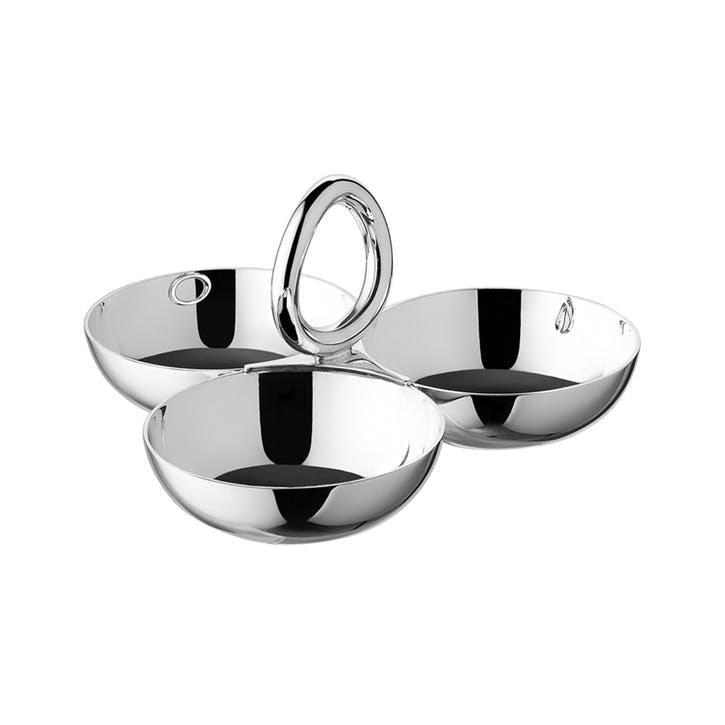 Vertigo Silver Plated Snack Tray/Server with Three Bowls