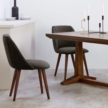 Lule Set of 2 Dining Chairs; Otter Grey Velvet